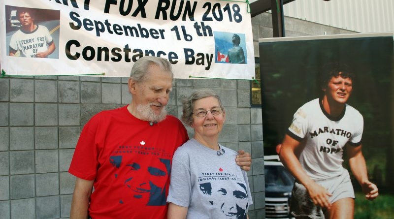 Robert Dupuis, photographed with his wife Linda Cassidy at the 2018 West Carleton Terry Fox Run, passed away last Tuesday, July 7. Photo by Jake Davies