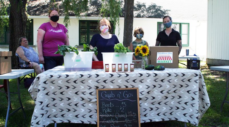 From left, CBCM chair Amanda Chapman, market manager Cindy Pratt, Lucy Davies and CBCM director and Limestone Acres' Amanda Gillespie at last Saturday's Grab and Go Market. Photo by Jake Davies