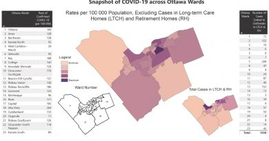 This map represents the residences of confirmed cases in the City of Ottawa as of July 20, not where the coronavirus was contracted. Courtesy OPH