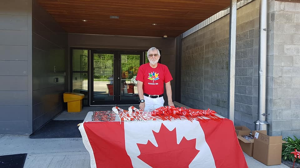 In Constance Bay, volunteers were giving out Canada Day swag at the NorthWind Wireless Fibre Centre courtesy MP Karen McCrimmon. Courtesy Angela Bernhardt