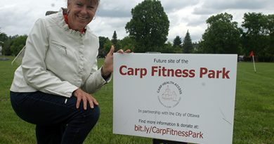 Volunteer Kathy Fishcer has worked on the Carp Fitness Park project for more than three years. Photo by Jake davies