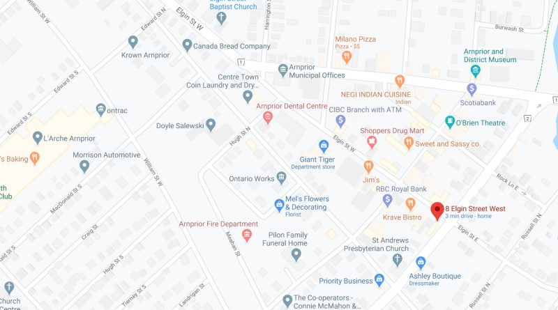 The proposed pot shop is earmarked for 8 Elgin St. W indicated by the orange dot in the bottom right. Courtesy Google Maps