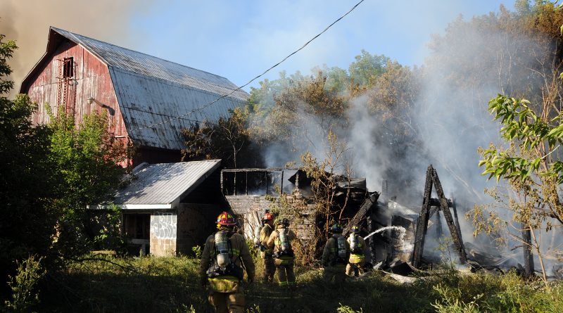 Firefighters couldn't save this barn but were able to save the much larger one to the left. Courtesy the OFS