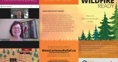 WCDR's Judy Makin, inset, spoke to West Carleton Online yesterday about the disaster organization's new pamphlet Wildfire Ready that will arrive in West Carleton residents' homes in just a couple of weeks. Image by Jake Davies