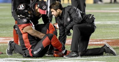 Marcelo Cuenca has worked with the Ottawa RedBlacks, pictured, as well as the Ottawa Senators, 67's and university athletes in his time as an atheltic therapist. Courtesy Marcelo Cuenca