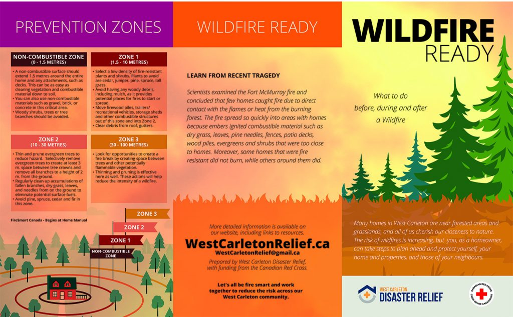 Page one of the WCDR's Wildfire Ready pamphlet (please note: not final edition).