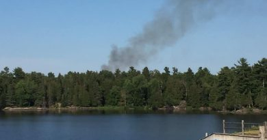 Firefighters are battling a blaze in Renfrew County believed to be started by a lightening strike. Courtesy the Whitewater Region Fire Department