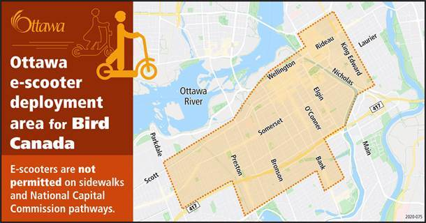 The eScooter deployment area map. Courtesy City of Ottawa