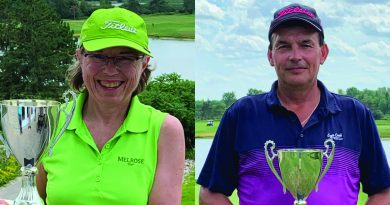 From left, Brenda Fawcett and Eric Cormier won the women and men's Eagle Creek Golf Club Senior Club Championships over the weekend. Courtesy Eagle Creek