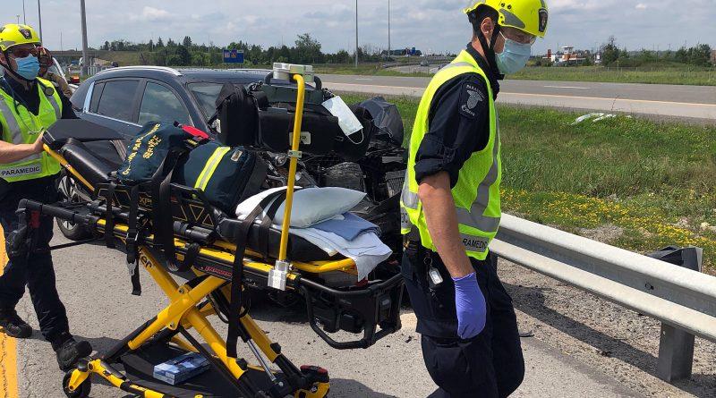 Ottawa paramedics responded to two collisions only metres apart today. Courtesy the Ottawa Paramedic Service