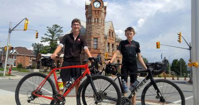 With yesterday's trip to Arnprior, from left, Carp's River Laflamme and Will Smith have already reached their 500 km goal but are pledging to keep pedaling. Photo by Jake Davies