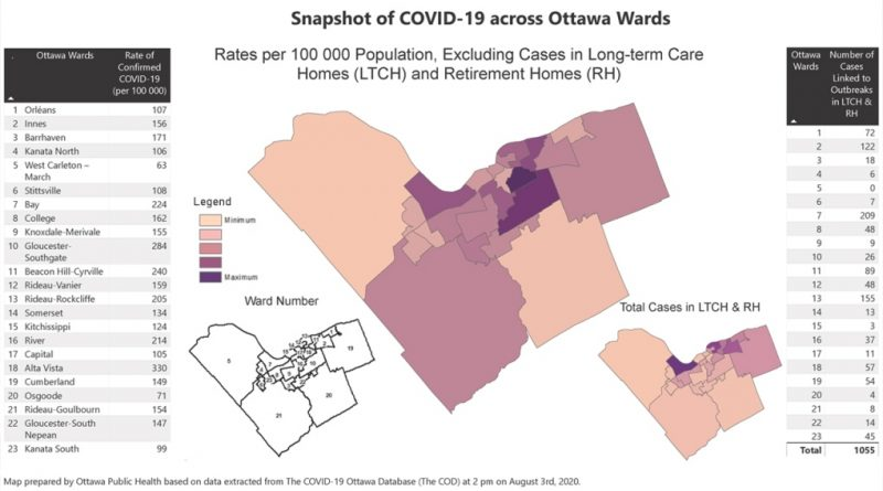 The latest snapshot of COVID-19 confirmed cases as of Aug. 3. Courtesy of Ottawa Public Health
