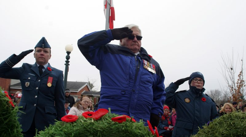 Organizers are moving this year's West Carleton War Memorial Remembrance Day Service online adapting to the pandemic. In the photo, World War Two veteran Dr. Roly Armitage salutes his fallen comrades. Photo by Jake Davies