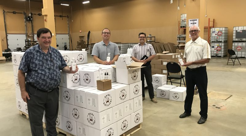 Paul Schnittker, Omid McDonald, foundation managing director Al Roberts and foundation chair Rob Scott toured the production space at the Almonte Plaza. Courtesy the AGHFMF