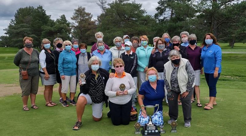 The Madawaska Golf Ladies Championship competitors pose for a photo following the tournament. The four champions are up front with A Flight champion Maureen Dunnigan second from left. Courtesy Madawaska Golf