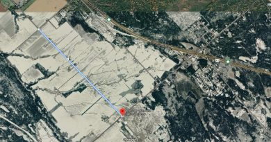 The stretch of Upper Dwyer Hill Road that will be closed for repairs is indicated by the blue line. Courtesy Google Maps