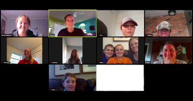 West Carleton 4H Beef Club attend a Zoom meeting. Members in the photo, starting at the top row from left ,are Josie Leman, Robyn Stanton, Tim Mccord and Darren McCord. In the second row are Avery Stanton, Lindsay Gillan, Jack Findlay, Calahan Findlay, Abby Argue-Findlay and Kathryn Cavanagh. Evan Miller is in the bottom row. Screen capture courtesy Robyn Stanton