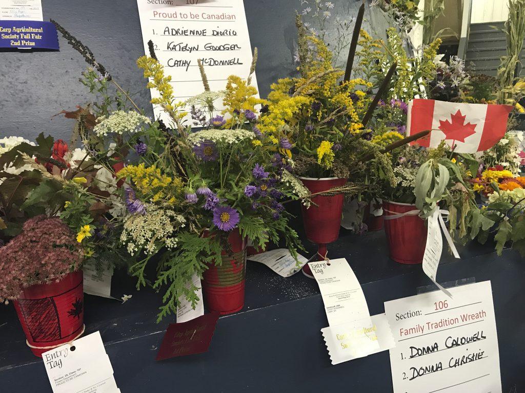 FLower arrangements from last year's Carp Fair.