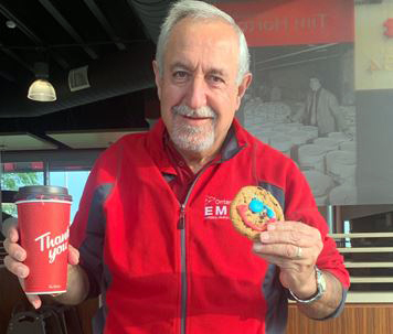 Coun. Eli El-Chantiry shows off his Tim Hortons' Smile Cookie bought this morning. Courtesy Eli El-Chantiry