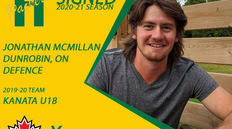 Dunrobin's Jonathan McMillan will be playing for the Packers this upcoming hockey season. Courtesy the Arnprior Packers