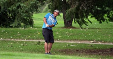 Robert Carruthers saving par on Hole 3 during Labour Day's Madawaska Men's Club Championship. Photo by Jake Davies