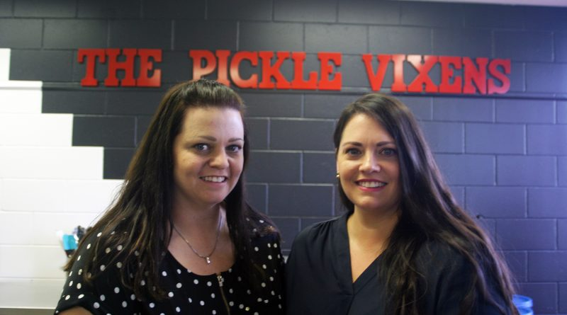 The Pickle Vixens, from left, sisters Monica McGinnis and Melanie Matthews, in their Kinburn commercial kitchen. Photo by Jake Davies
