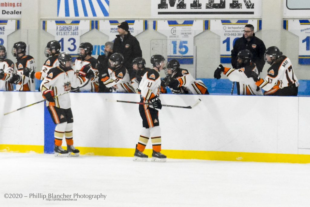 Inferno Ryan Nugent, on ice at left, celebrates his assist as part of an 8-5 win over the Morrisburg Lions on Jan. 26. Photo by Phillip Blancher
