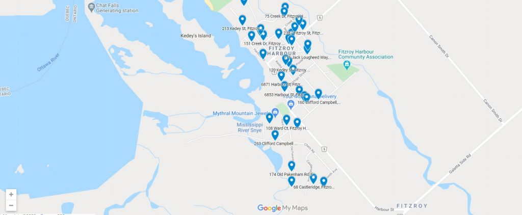 A screen shot of the Google Map showing locations of those participating in Hallowe'en this year. Screenshot