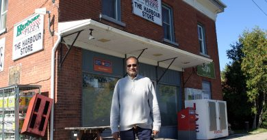 Tejal T.J. Marfatia in front of The Harbour Store.