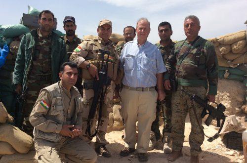 Matthew Fisher with Kurdish Peshmerga fighters battling Islamic State terrorists in Iraq in 2016.