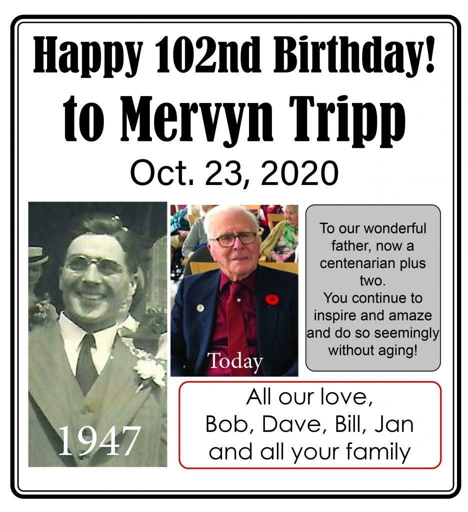 A birthday card for Mervyn Tripp