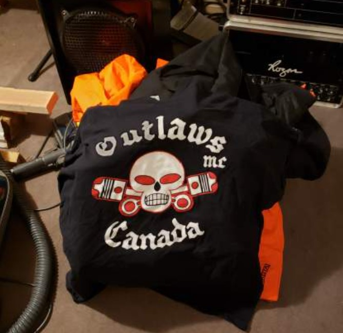 A photo of a motorcycle vest with criminal links.