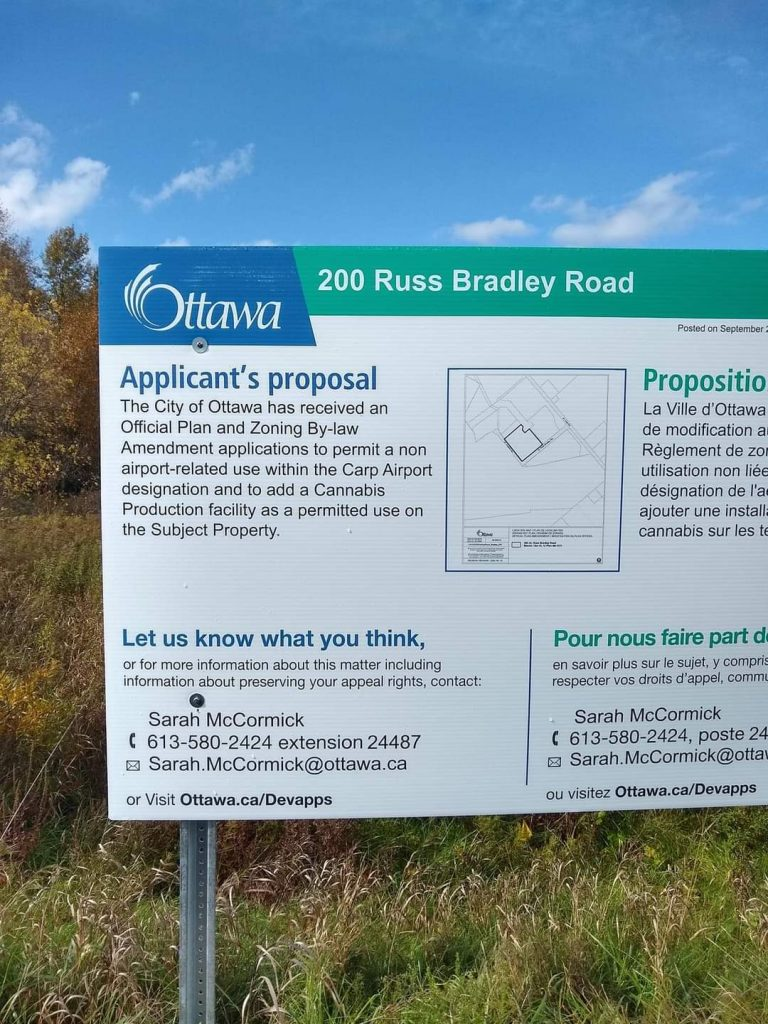 A sign advertising the zoning amenment.