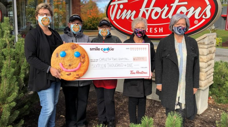 People holding a cheque at Tim Hortons.
