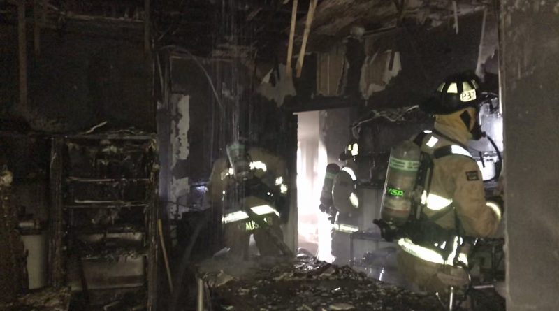 Inside the Strathmere kitchen after the fire.