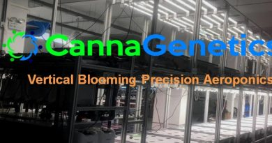 An image of CannaGenetics' logo and some of their equipment.