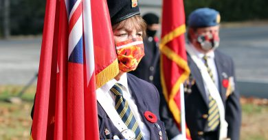 Branch 616 Colour Guard member Arlene Morrow at Constance Bay's Remembrance Day ceremony Nov. 7.