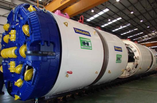 A photo of the boring machine used to create the storage tunnels.