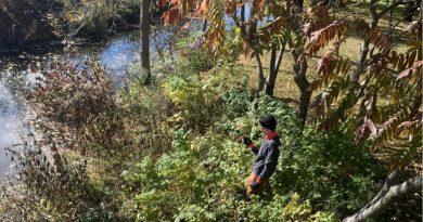 Ottawa Riverkeeper staff install a temperature logger in the Carp River.