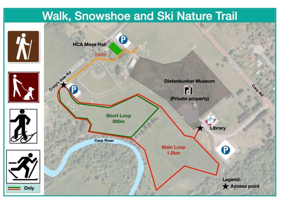 A trail map for the Carp Riverwalk.
