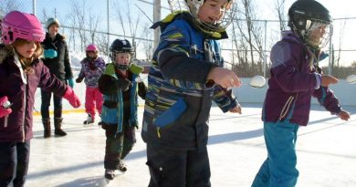 Kids participate in an egg race on Dunrobin's outdoor rink.