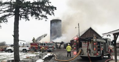 Firefighters attack a Monday morning farm fire on Diamondview Road.