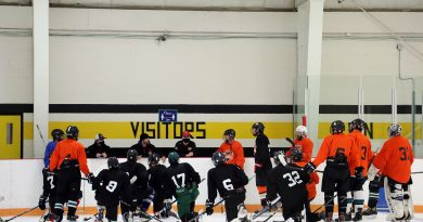 Inferno hopefuls and coaches huddle for a chat during Monday's training camp session.