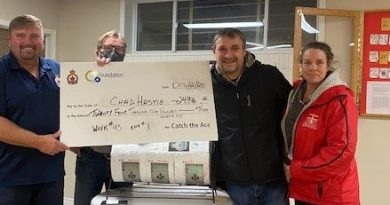 Royal Canadian Legion Branch 192 president Peter Schaffer and Carleton Place & District Memorial Hospital Foundation chair Ian Grant present the cheque for $24,996 to winners Chad Hastie and Leanne Hall.