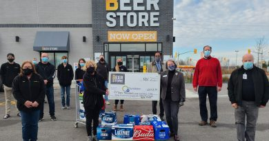 Pictured from left to right in the attached photo are: Presenting the cheque for $15,903.35 on behalf of The Beer Store in Carleton Place was Valerie McNeely, manager (holding the cheque) and eight members of The Beer Store team. Accepting the cheque on behalf of the Carleton Place & District Memorial Hospital Foundation were board members Joanna Luciano, vice-chair (holding the cheque), Esmail Merani, Ken Mylrea, treasurer, and Stephen Tunks.