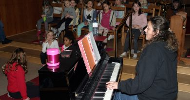 Glee Club founder Jen Britton leads a class last spring.