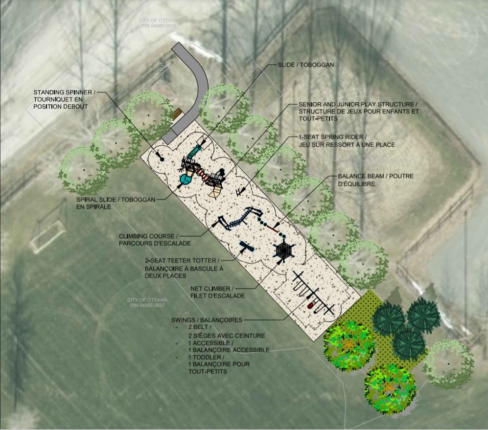 The city's concept plan for the Musical Playground playstructure.