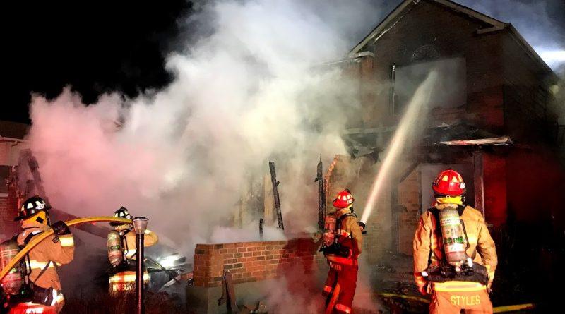 Firefighters battle a Kanata fire late last night.