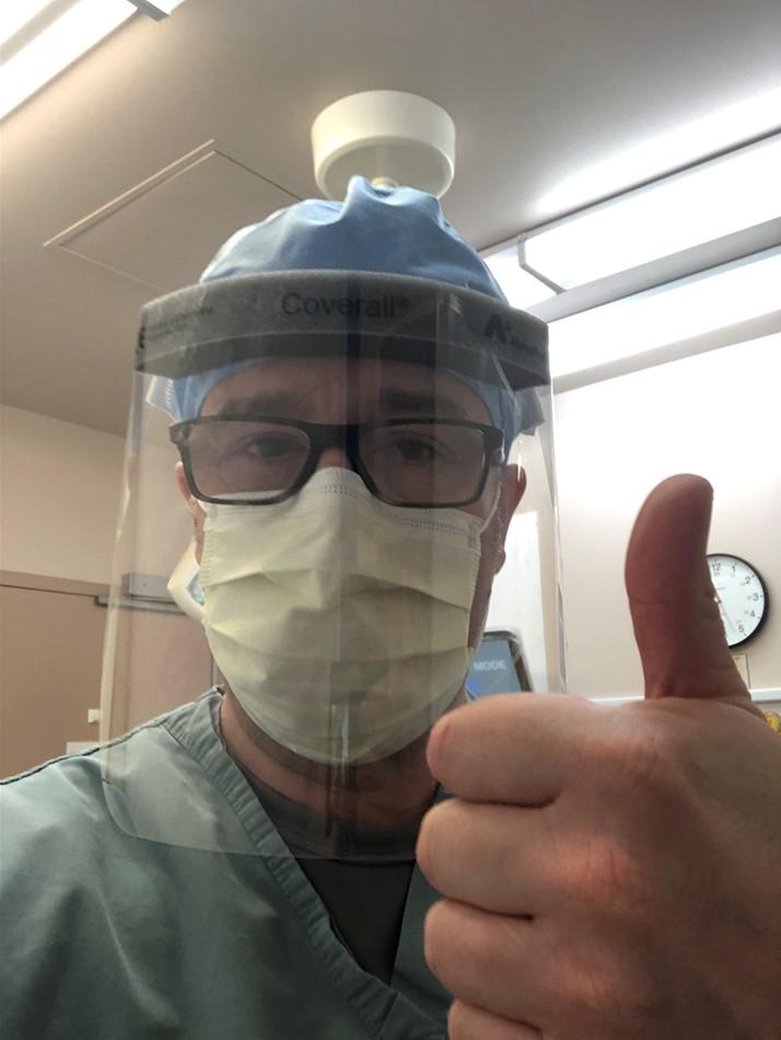 Nurse Mark Gormley in head to toe PPE.