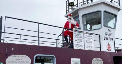 Santa aboard The Grant Beattie.